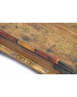 Starý čajový stolek z teakového dřeva, 44x44x17cm