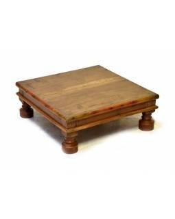 Starý čajový stolek z teakového dřeva, 54x54x20cm