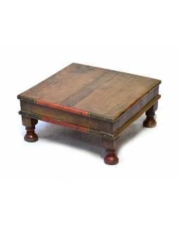 Starý čajový stolek z teakového dřeva, 50x50x23cm