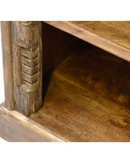 Knihovnička s policemi, antik řezba Kerala, 64x33x108cm
