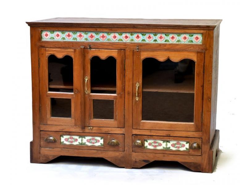 Stará prosklená skříňka z teakového dřeva zdobená dlaždicemi,, 123x58x103cm