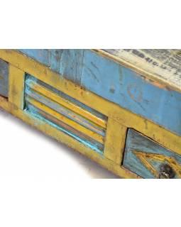 Prosklená skříňka z antik teakového dřeva, tyrkysová patina, 50x43x115cm