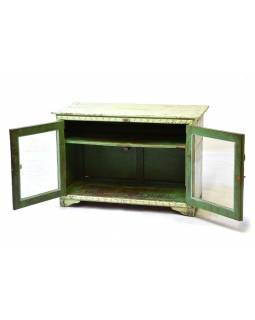 Prosklená skříňka z antik teakového dřeva, plechové boky, 98x46x66cm
