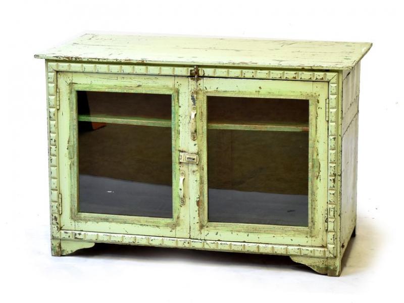 Prosklená skříňka z antik teakového dřeva, tyrkysová patina, 98x46x66cm