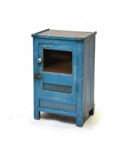 Prosklená skříňka z antik teakového dřeva, tyrkysová patina, 43x32x70cm