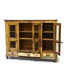 Prosklená skříň z antik teakového dřeva, plechové boky, 163x44x127cm