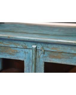 Prosklená skříň z antik teakového dřeva, tyrkysová patina, 76x42x121cm