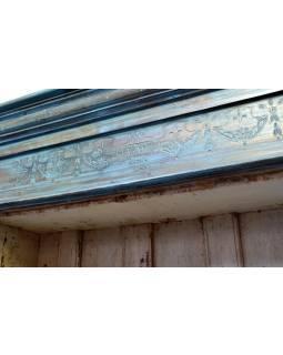 Stará prosklená skříň z teakového dřeva, tyrkysová patina, 113x34x186cm
