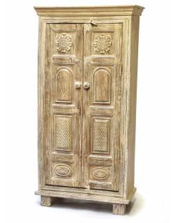 Policová skříň z teakového a mangového dřeva, ruční řezby, 71x40x144cm
