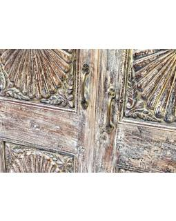 Policová skříň z teakového a mangového dřeva, ruční řezby, 97x36x156cm