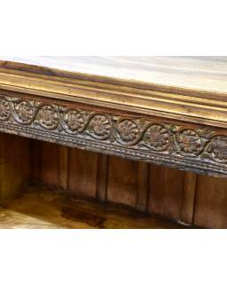 Knihovna z antik teakového a mangového dřeva, ruční řezby, 122x42x106cm