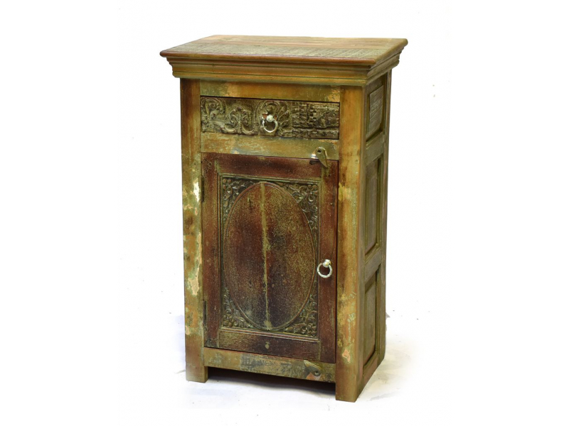 Komoda/noční stolek z mangového a teakového dřeva, zelená patina, 54x38x92cm