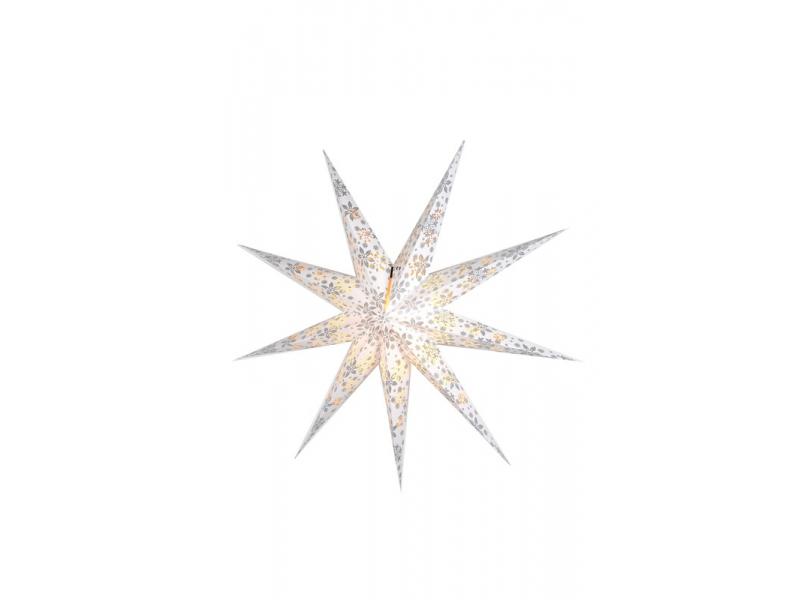 Bílý papírový lampion hvězda, motiv vločky, postříbřená, 9cípů, 93cm