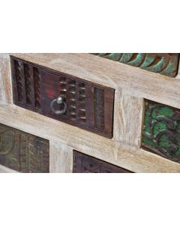 Šuplíková komoda z mangového dřeva, ruční řezby,, 112x47x92cm