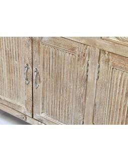 Komoda z mangového dřeva, ruční řezby,bílá patina, 141x37x83cm