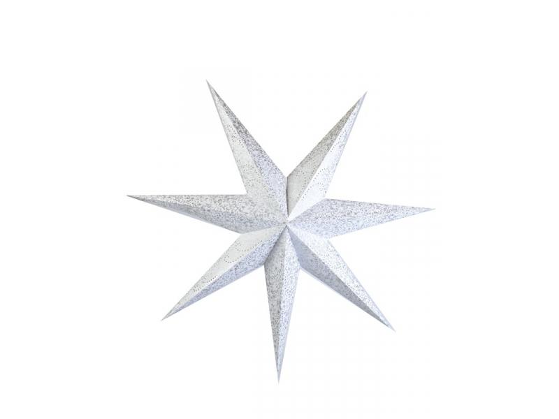 Bílý papírový lampion hvězda, postříbřená, 7cípů, 140cm
