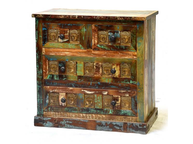 Komoda z teakového a mangového dřeva, reliefy Buddhů, 86x40x95cm