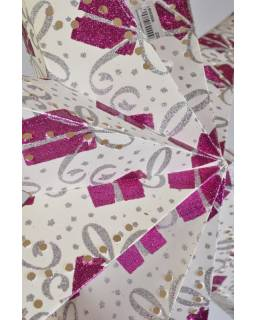 Bílý papírový lampion hvězda, motiv Gift, postříbřená, 9cípů, 60cm