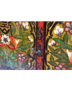 Ručně malovaná dřevěná antik komoda z Tibetu, 173x70x141cm