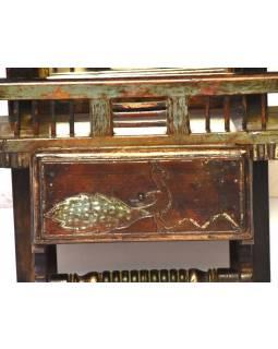 Staré zrcadlo s poličkou z teakového dřeva, ruční řezby, 35x13x56cm
