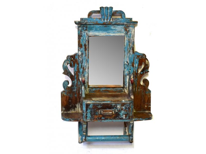 Staré zrcadlo s poličkou z teakového dřeva, ruční řezby, 43x13x66cm