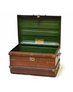 Plechový kufr, antik, hnědý, 67x47x42cm