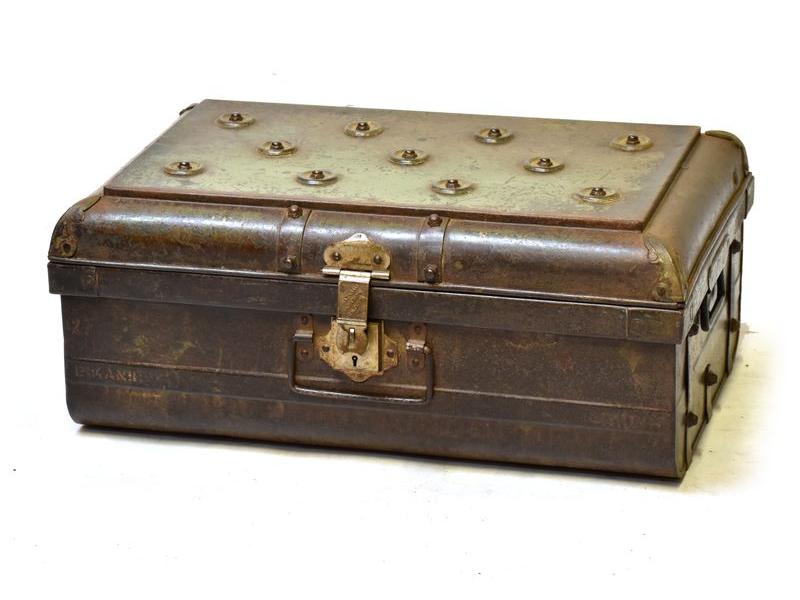Plechový kufr, antik, zelený, 68x45x28cm