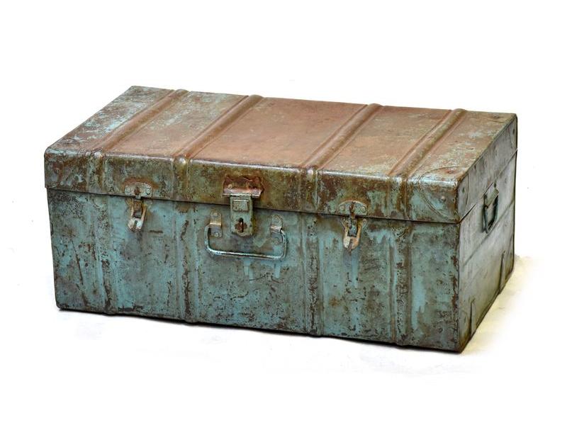 Plechový kufr, antik, zelený, 66x38x27cm