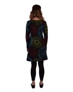 Černé šaty s dlouhým rukávem, mandalový potisk, V výstřih