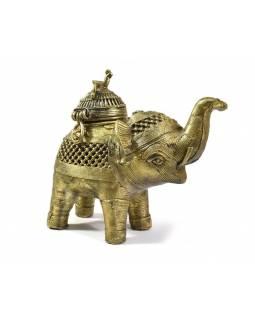 """Slon """"tribal art"""", mosazná soška, otevírací,  13cm"""