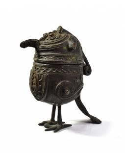 """Pták """"tribal art"""", mosazná soška, otevírací, 12cm"""