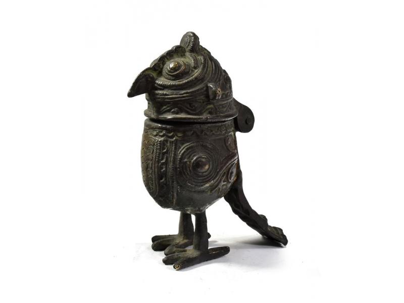"""Pták """"tribal art"""", mosazná soška, otevírací, 10cm"""