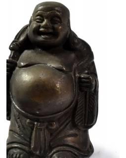 Buddha hojnosti , mosazná soška, 12cm