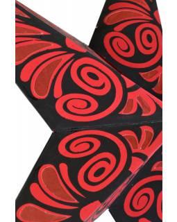 """Černo červený papírový lampion hvězda """"Celtic Flower"""", 5 cípů, 60cm"""
