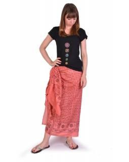 Růžový sárong z bavlny, potisk mantry, 110x170cm