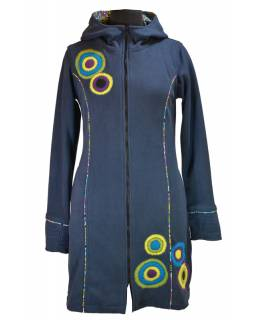 Fleecový kabátek s kapucí, tmavě modrý, fialové kruhové aplikace, Bubbles tisk,