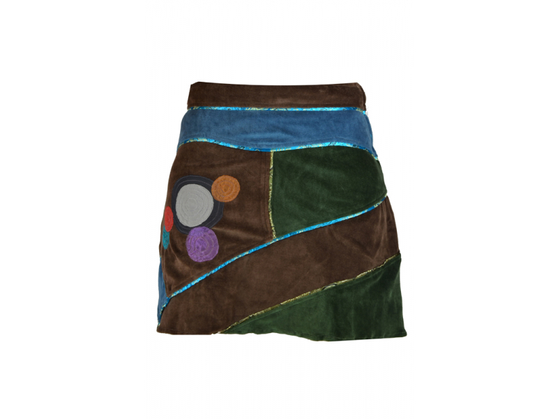 Krátká hnědá sametová sukně s kruhovými aplikacemi a pletením, zip