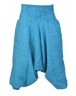Kalhoty turecké, tyrkysové, ozdobné šikmé prošívání, žabičkování