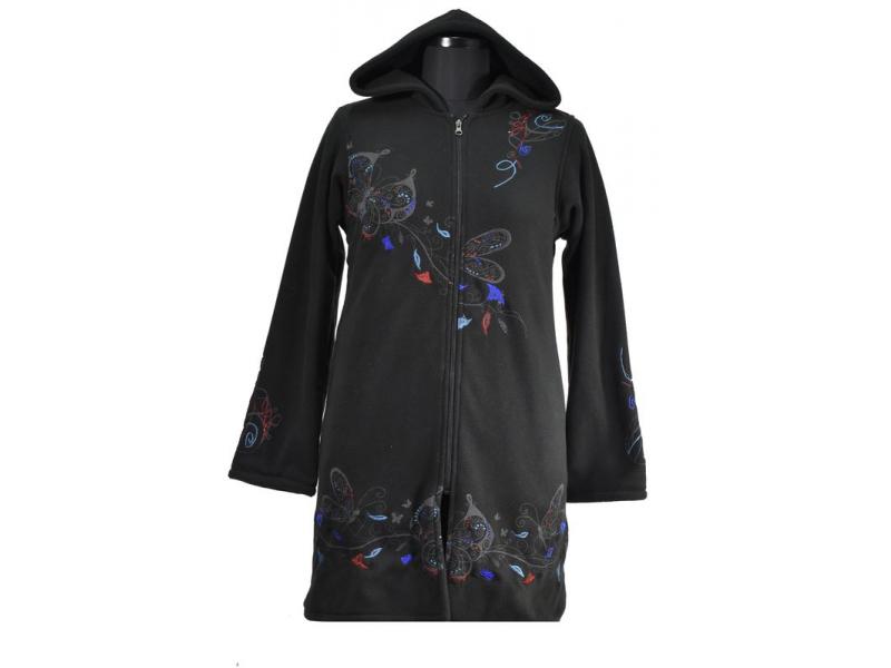 Černo-modrý oboustranný dámský kabátek s kapucí zapínaný na zip, Butterfly desig