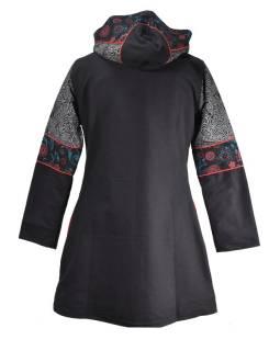 Podzimní/zimní kabátek s potiskem a výšivkou, kapsy