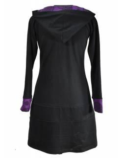 Mikinové šaty s dlouhým rukávem a kapucou, černo-fialové, potisk, kapsa na břiše