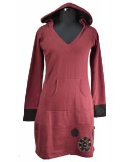 Mikinové šaty s dlouhým rukávem a kapucou, vínovo-černé, potisk, kapsa na břiše