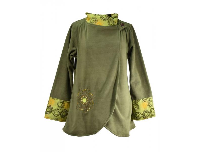 Khaki fleecový kabát s potiskem zapínaný na knoflík, výšivka, kapsy