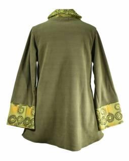 Khaki kabát s potiskem zapínaný na knoflík, výšivka, kapsy