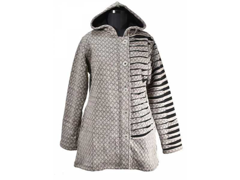 Šedá bunda s kapucí, prostřihy, knoflíky, kapsy