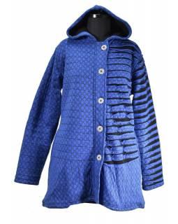 Modrá bunda s kapucí, prostřihy, knoflíky, kapsy