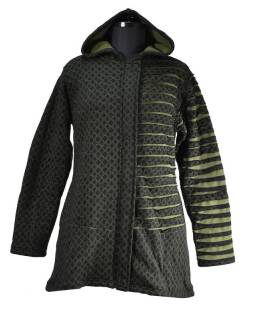 Černá bunda s kapucí, prostřihy, zip, kapsy