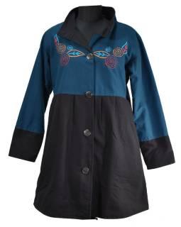 Černo-petrolejový kabátek s límečkem zapínaný na knoflíky, výšivka