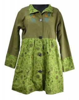 Khaki kabátek s límečkem zapínaný na knoflíky, výšivka a potisk