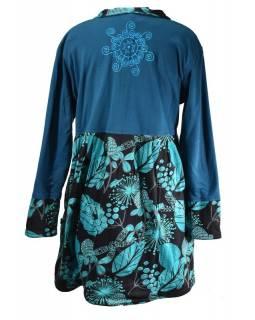 Černo-modrý kabátek z tričkoviny s límečkem zapínaný na knoflíky, výšivka